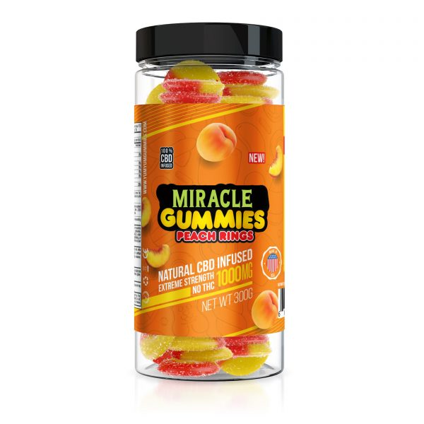 Miracle Gummies 1000mg - CBD Infused Peach Rings